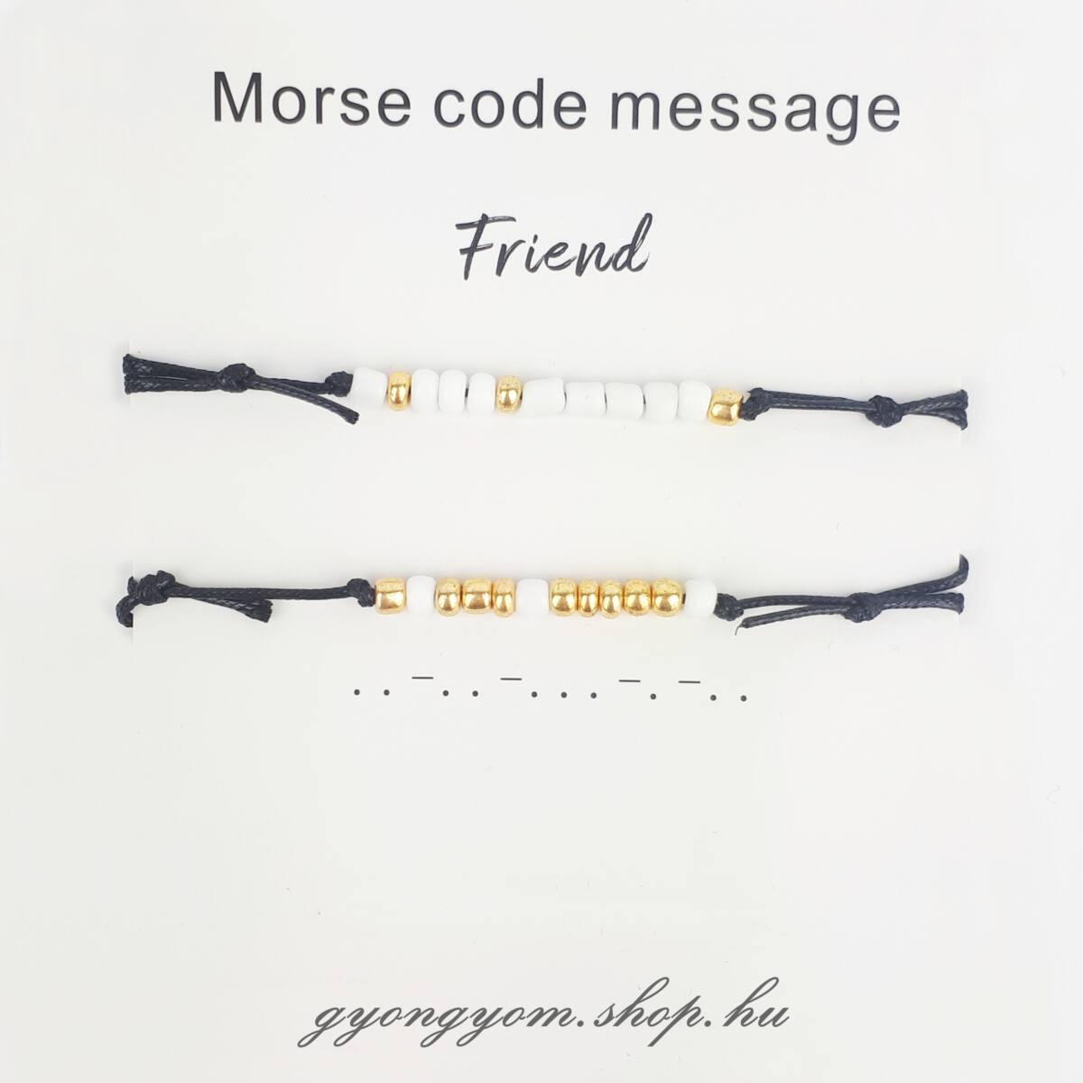 Morse fekete barátság karkötő