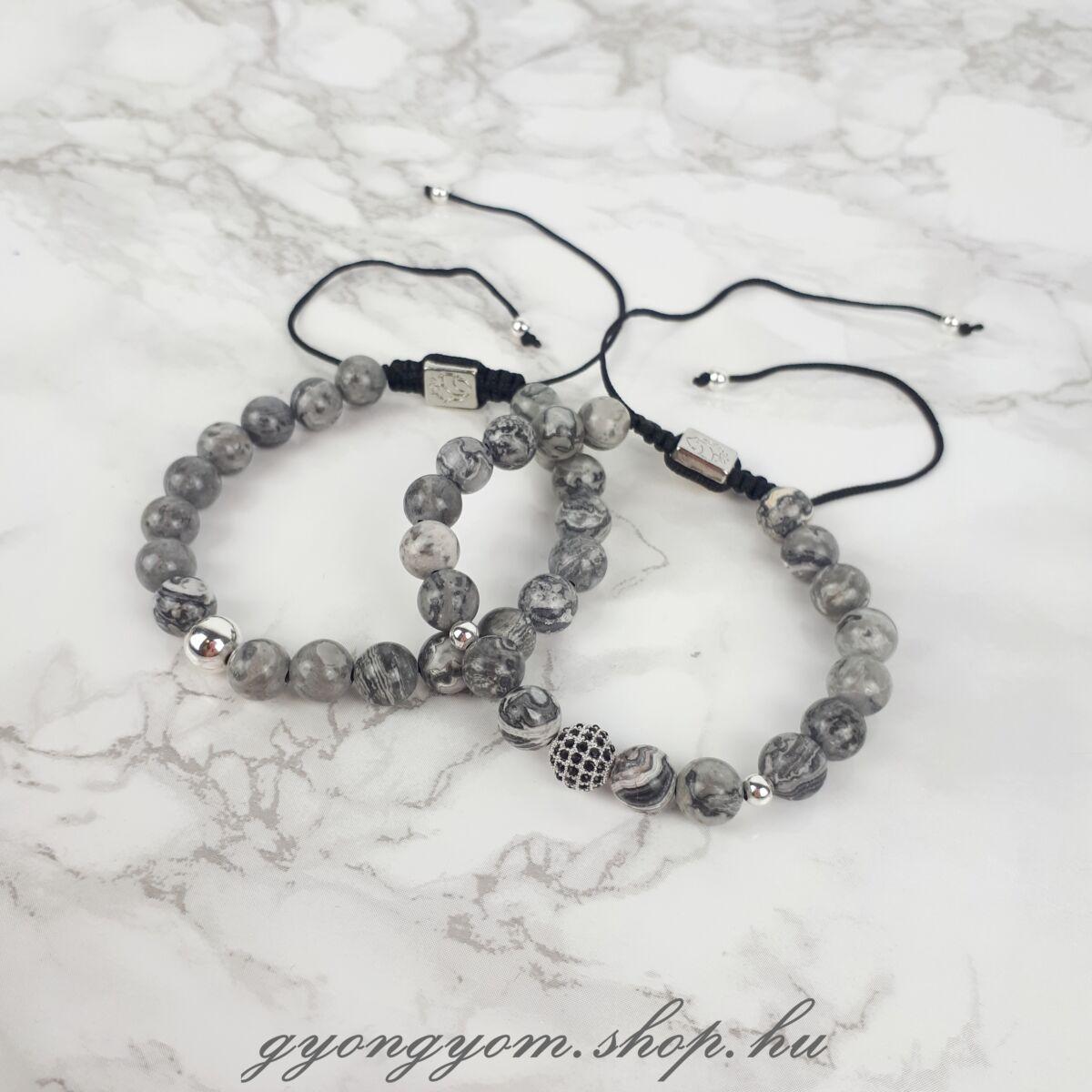 Marbre ezüst színű márvány gyöngyös karkötő