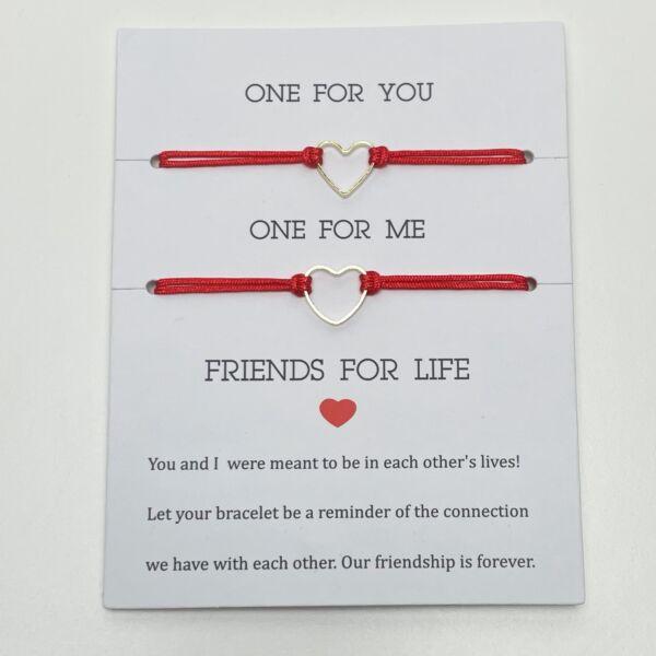 Friends for life piros barátság karkötő szett