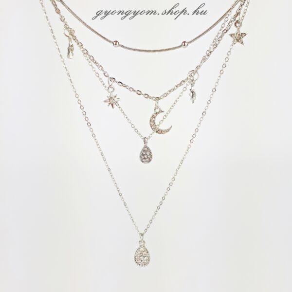Anona többsoros ezüstözött nyaklánc