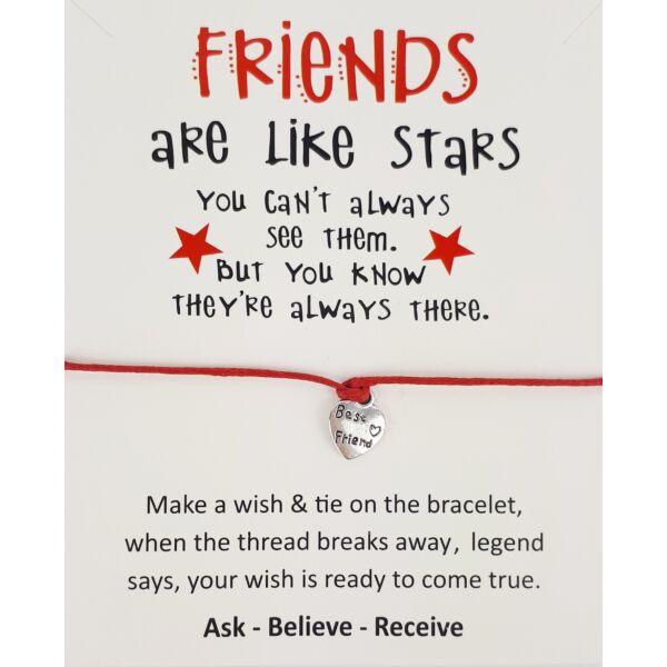 Friends piros barátság karkötő